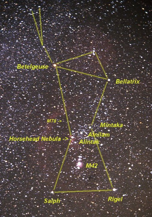 orion with names of stars